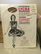 Vintage lycra nude thigh high Stockings w model 9 1/2 - 10
