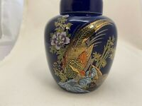 "VINTAGE GINGER JAR Cobalt Blue Pheasant Bird Painted w/Gold Trim Accent 5.25"" T"