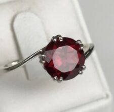 Ring Size P 1/2  Lovely 2.50ct Natural Garnet Solitaire Deep Bergundy & 925 S/S