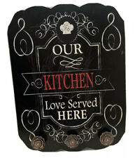"Wall Art Wood Sign Plaque 3 Rose Hooks 'Our Kitchen Love Served Here' 13.5""h #68"