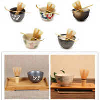 3PCS Set Matcha Ceramic Tea Bowl Bamboo Tea Scoop Whisk Tool 5Style Tea Ceremony