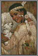 Cross Stitch Chart NATIVE AMERICAN WOMEN WITH WOLF - #21-138 (Large Print)