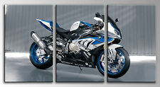 Carreau Moderne Photographie base bois, 84 x 45, Moto BMW Bleu
