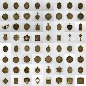10pcs Antique Bronze Tibetan Alloy Pendant Cabochon Bezel Settings Nickel Free