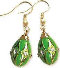 Faberge Egg Earrings with crystals 1.6 cm #0845-4