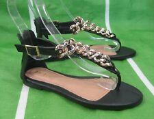 verano negro/Dorado Cadena Moda Para Mujer Gladiador Sexy Sandalias size 8.5