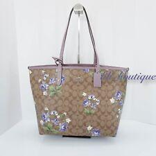 NWT Coach F72844 Reversible Tote Bag Signature Floral PVC Khaki Multi Jasmine