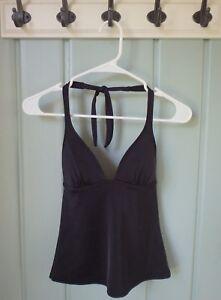 Victorias Secret Womens Size XS 0 2 Padded Solid Black Halter Tankini Swim Top