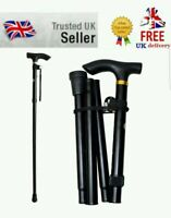 Collapsible Folding Non Slip Walking Stick Cane Height Adjustable Aluminum Black