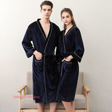 Womens Mens Velvet Pajamas Robe Sleepwear Bathrobe Nightwear Gown Loungewear