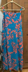 WOMEN'S OLD NAVY BLUE FLORAL TIERED FIT & FLARE MAXI DRESS - SIZE 1X PLUS NEW!