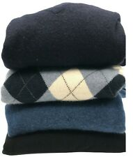 100% cashmere cutter lot black blue navy argyle 4 sweaters 2 lbs crafts recycle