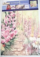 """NIP SPRINGS DONNA DEWBERRY GARDEN PATH 18 1/2"""" COTTON FABRIC QUILT SQUARE FLORAL"""