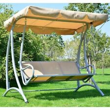 Sturdy 3-Person Outdoor Patio Porch Canopy Swing in SandColor, Adjustable Awning