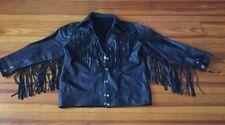 Western - Motor Cycle Jacket Black Leather Long Fringes - Hand-Made