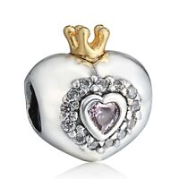 Crystals Heart for Princess European 925 Sterling Silver Charm For Bead Bracelet