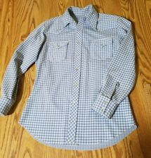 Vtg 70s Baby Blue Polyester button up shirt mop buttons polyester checks costume