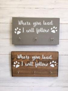 Where you lead I will follow dog leash hook/Dog leash holder/Pawprint leash hook