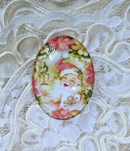 Vtg Pink Santa 30X40mm Glitter Unset Handmade Glass Art Bubble Cameo Cabochon