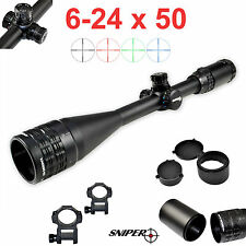 Sniper® 6-24x50 Rifle Scope Mil-Dot RGB Ill Clear Lens Front AO Rings Caps Shade