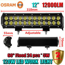 "OSRAM 120W 12""Inch LED Flood Work Light Bar Offroad Driving 4WD Truck ATV SUV"