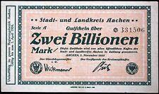 AACHEN 1923 2 Trillion Mark Inflation Notgeld German Banknote 2 Billionen