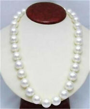 10mm White AAA South Sea Shell Pearl Round Beads Necklace 25""