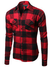 FashionOutfit Flannel Plaid Checkers Long Sleeve Button Down Shirt Various Color