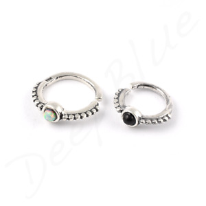 925 SILVER OPEN RING Small Opal or Onyx Stone  Daith Tragus Septum Nose Ear Bar