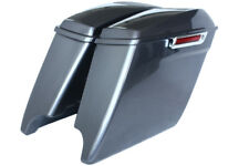 """Charcoal pearl 4.5"""" Dural cuts 6*9 speaker Saddlebags for Harley 2014-2017 latch"""