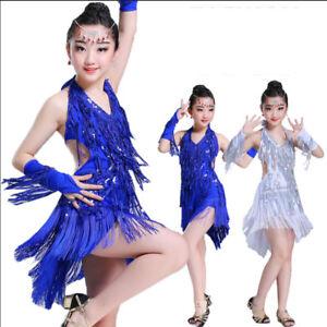 New Kids Latin Dance Dress Ballroom Sequin Dancewear Girls Tassel Costume Salsa