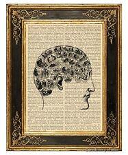Read My Mind Art Print on Antique Book Page Vintage Illustration Phrenology