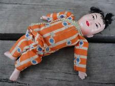Vintage Small Japanese Laquer Doll w Orange Outfit Composition 6""