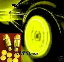 YELLOW LIGHT TIRE WHEEL VALVE STEM CAP LIGHTS LED w light & motion sensor