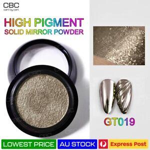 Solid Nail Art Powder Mirror Metal Duo Chrome HIGH Pigment Glitter Grey AU GT019