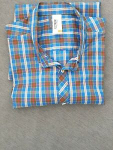 "🔥🔥 BEN SHERMAN PLECTRUM SHORT SLEEVE BLUE CHECK SHIRT VGC L 44"" CHEST"