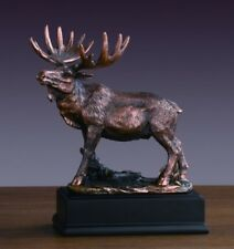 """Moose Statue 8"""" Height Bronze Electroplated Figurine Deer Family Wild Life"""
