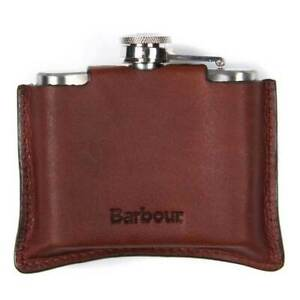 Barbour Hinged 4oz Stainless Steel Hip Flask Dark Brown Leather Case