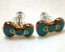 """Sanrio Hello Kitty's """"Iconic Bow"""" Gold Plating Turquoise💙 Enamel  Studs, NEW✨"""
