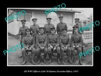 OLD LARGE HISTORIC PHOTO OF WWI AUSTRALIAN MILITARY ESSENDON RIFLE OFFICERS 1915