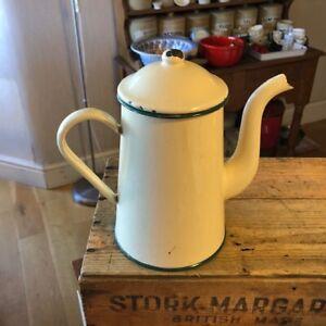Vintage Cream Tall Enamel Coffee Pot – Green Trim – Kitchenalia! –