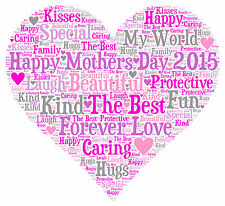 Personalised Word Art Heart Print A4 Mum Mothers Day Mummy Birthday Xmas Gift