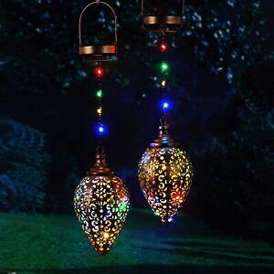 2 Pack Solar Garden Lights Solar Lights Outdoor Colorful LED Lanterns Waterproof