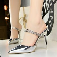 Fashion Women's Mules Patent Leather High Heels Pumps Stilettos Sandals Shoes