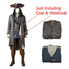 Pirates of the Caribbean Captain Jack Sparrow Cosplay Costume Coat Waistcoat