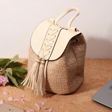 White straw woven lady backpack with tassel Striped lining lady vegan