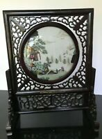 Antique Old Chinese Wood Lacquerware Revolving Screen Double Pictures Landscape