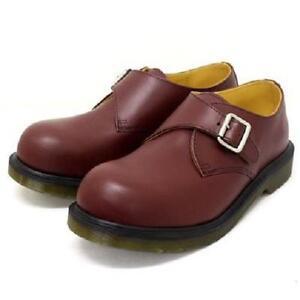 Doc Martens JOEY Monk Adj Buckle Red Cherry Steel Toe Leather Shoes M-7 W-8 NWT