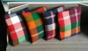 4 Dolls House Cushions & Pillows TARTAN CHECK - Handmade*blue red gold green 💜