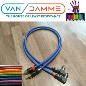 Van Damme Pro Grade RCA Cable PAIR Right Angle to Straight Silver Plated OFC